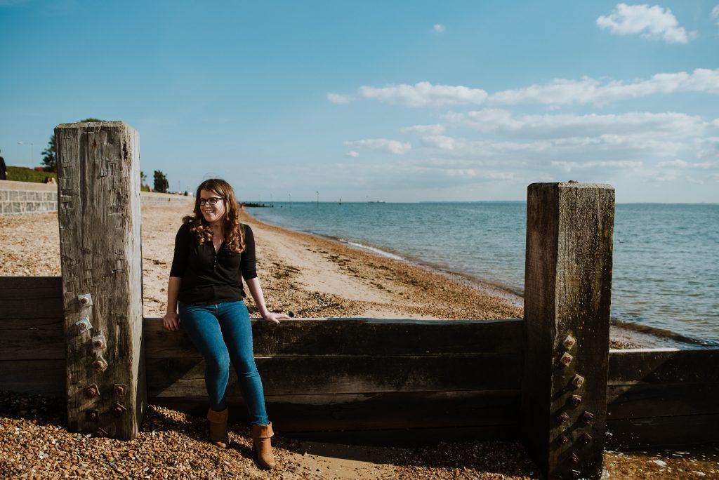 Creative Copywriter Jen Feroze of Jackdaw Editorial by the coast in Leigh on Sea