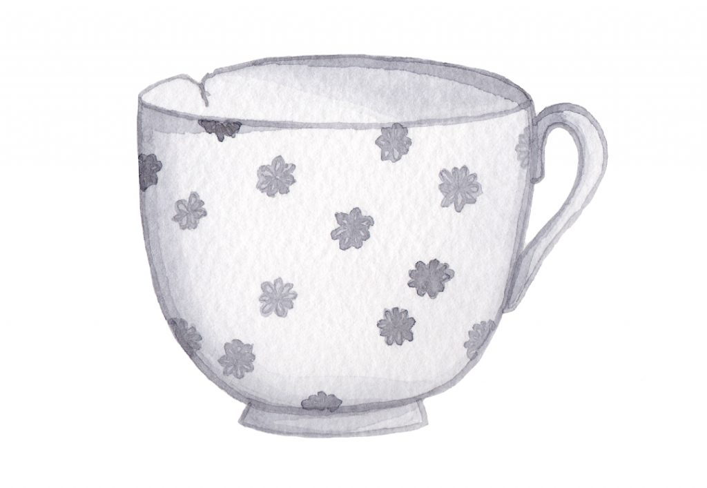 Harriet Greenwood Grey Floral Watercolour illustration tea cup by Kerri Awosile
