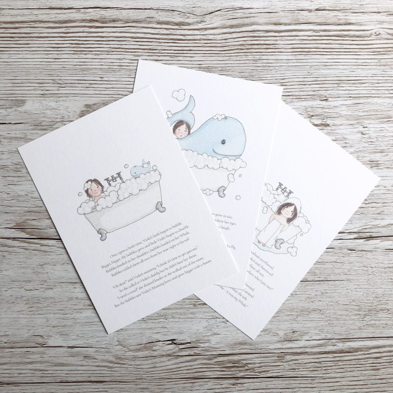 Illustrated short story prints for children's gift bespoke rhyming story and watercolour artwork by Kerri Awosile