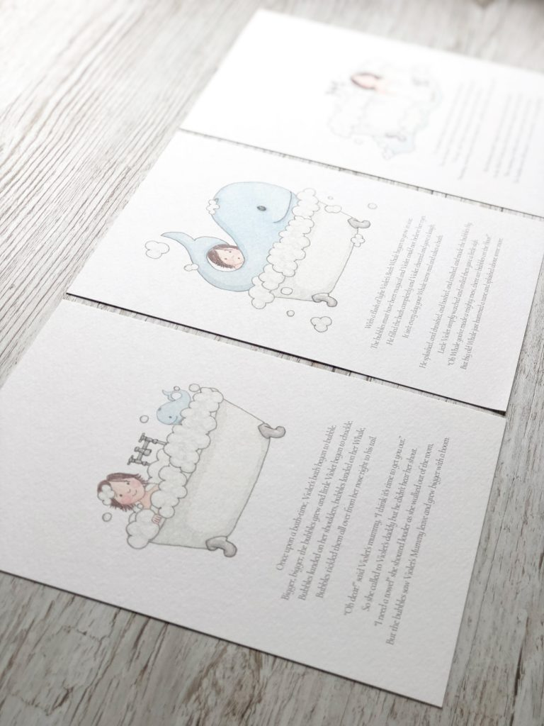 Illustrated story prints in a tryptic by Kerri Awosile in UK