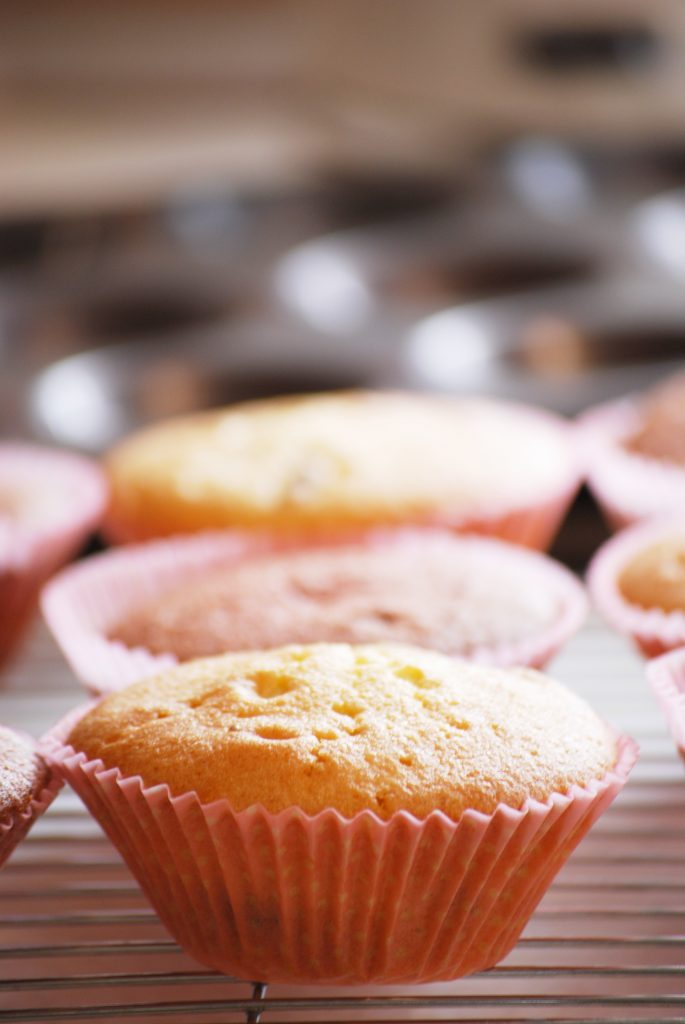 Undecorated strawberry cupcakes, recipe by Kerri Awosile