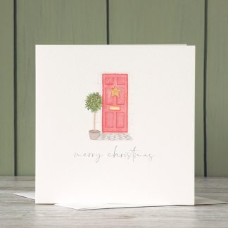 Festive Front door Christmas Card by UK artist and designer, Kerri Awosile