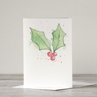 Holly Christmas Card by UK artists and designer, Kerri Awosile