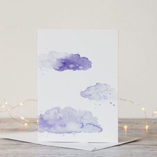 Blue clouds watercolour greeting card by Kerri Awosile UK with lights
