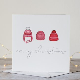 Red Winter Hats Modern Typography Christmas Card by Kerri Awosile with lights
