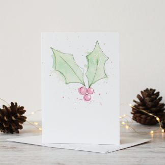 Holly Watercolour Christmas Card loose modern style splash splatter UK by Kerri Awosile with pine cones