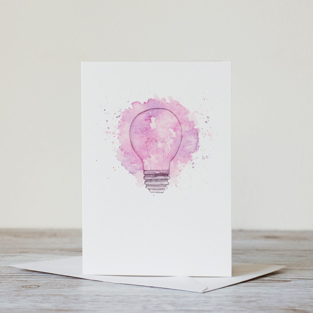 Light bulb watercolour blast greeting card by Kerri Awosile UK
