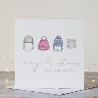 Personalised Winter Hats Christmas Card by Kerri Awosile with lights