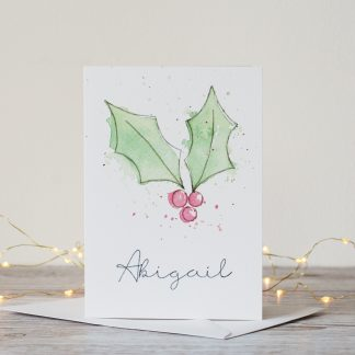 Personalised name Holly watercolour splatter splash loose painting Christmas card by Kerri Awosile UK with lights