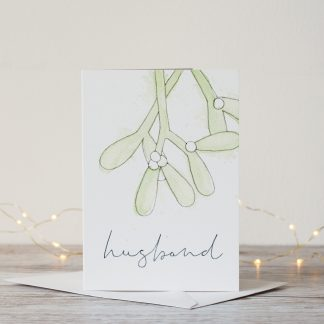 Mistletoe Personalised Christmas Card by Kerri Awosile for husband with lights