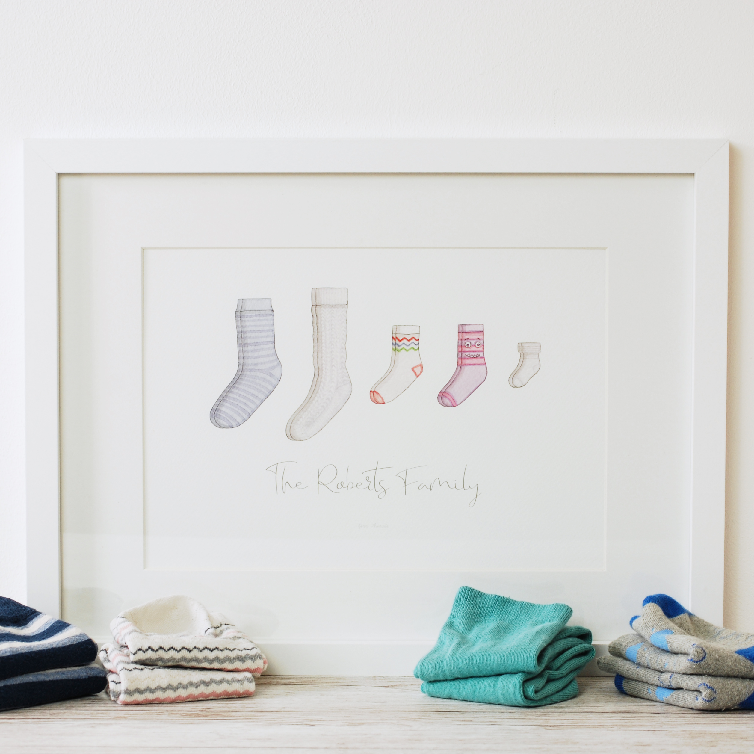 Watercolour socks family personalised art print by Kerri Awosile with socks