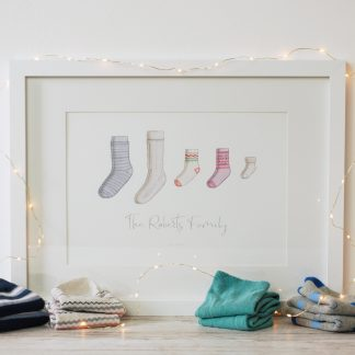 Watercolour socks family personalised art print by Kerri Awosile with socks and lights
