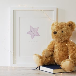 wish upon a star watercolour personalised children's art print by Kerri Awosile with teddy and lights