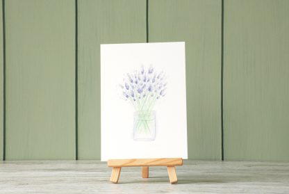 Lavender art print postcard with green paneling wall by Kerri Awosile