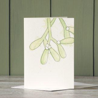 Mistletoe Christmas Card by UK artist and designer, Kerri Awosile