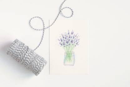 Lavender A6 watercolour art print by Kerri Awosile, on white background with striped string
