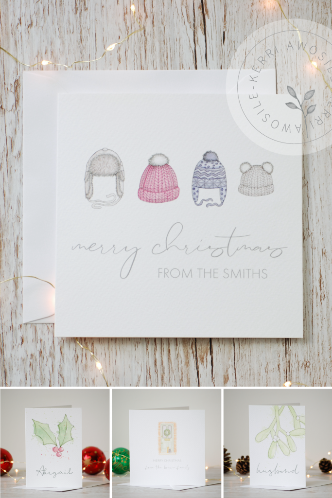 Feel good Christmas Cards that can be personalised, by UK artist and designer Kerri Awosile