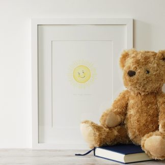 shine bright watercolour painting personalised children's sunshine art print by Kerri Awosile with Teddy Bear