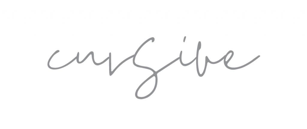 Cursive font example graphic for Kerri Awosile blog
