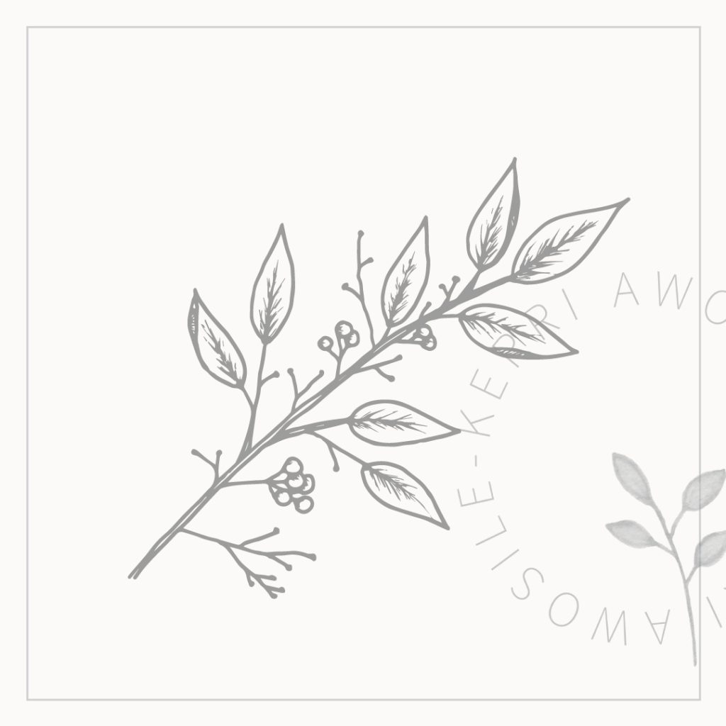Autumn leaf, twig and berry line art graphic design element for branding or social media in grey by Kerri Awosile artist, writer, design in the UK