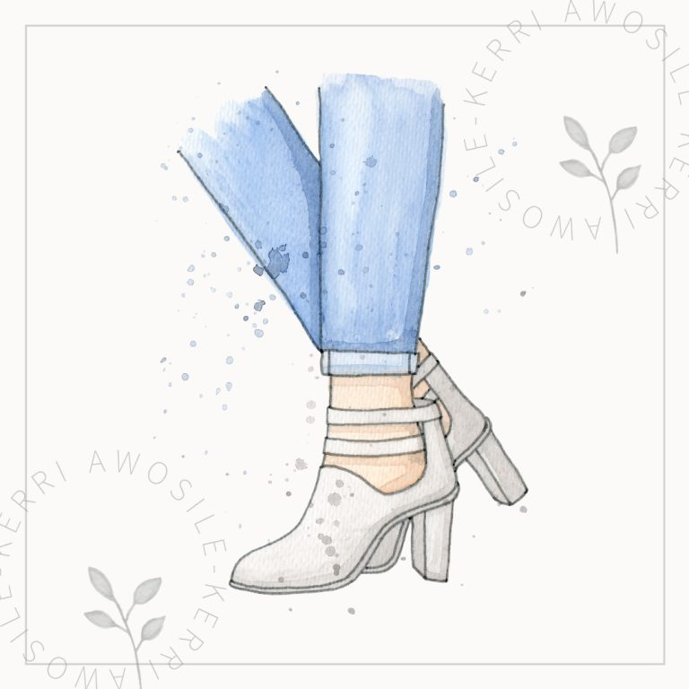 watercolour high heel portfolio image, grey boots with blue turn-up jeans in splatter loose effect with ink by Kerri Awosile artist, writer, designer in the UK