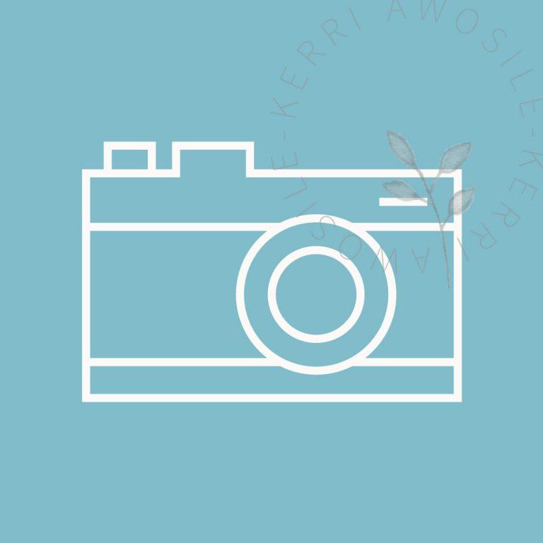 camera portfolio icon, branding, social media design by Kerri Awosile artist, writer, designer in the UK