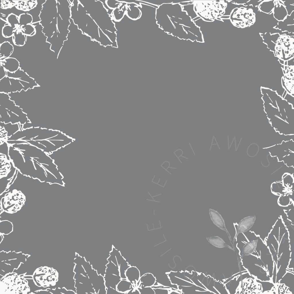 dark grey and white bramble leaves, berries, flowers graphic design element, pattern, branding by Kerri Awosile artist, writer, designer in the UK