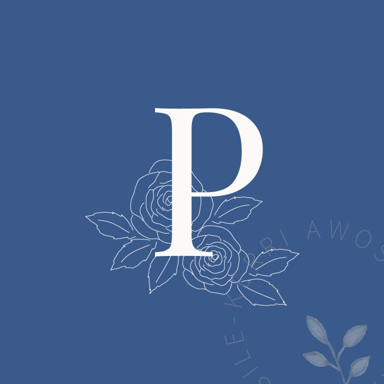 P and white rose outline on dark blue background icon, branding by Kerri Awosile art, writing, design in the UK