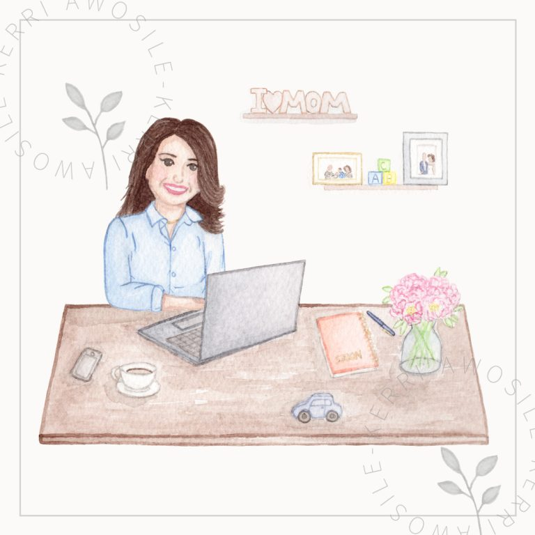bespoke brand illustrations of desk, woman, laptop, flowers by Kerri Awosile artist, writer, designer in the UK