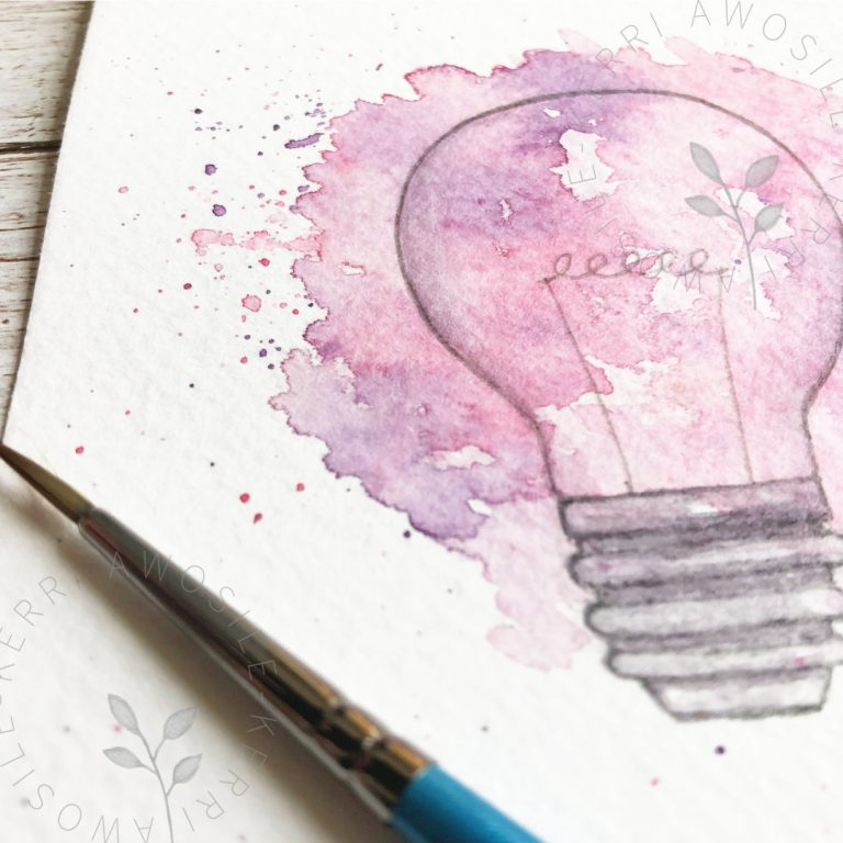 loose light bulb watercolour and ink artwork painting by Kerri Awosile art, writing, design in the UK