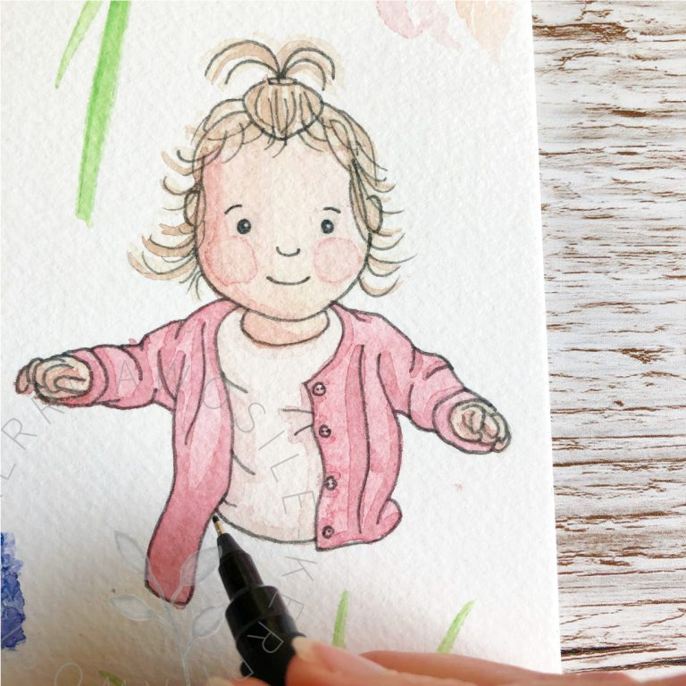 children's, baby, toddler illustration in watercolour and ink for story or book or print, by Kerri Awosile artist, illustrator, writer, designer in the UK