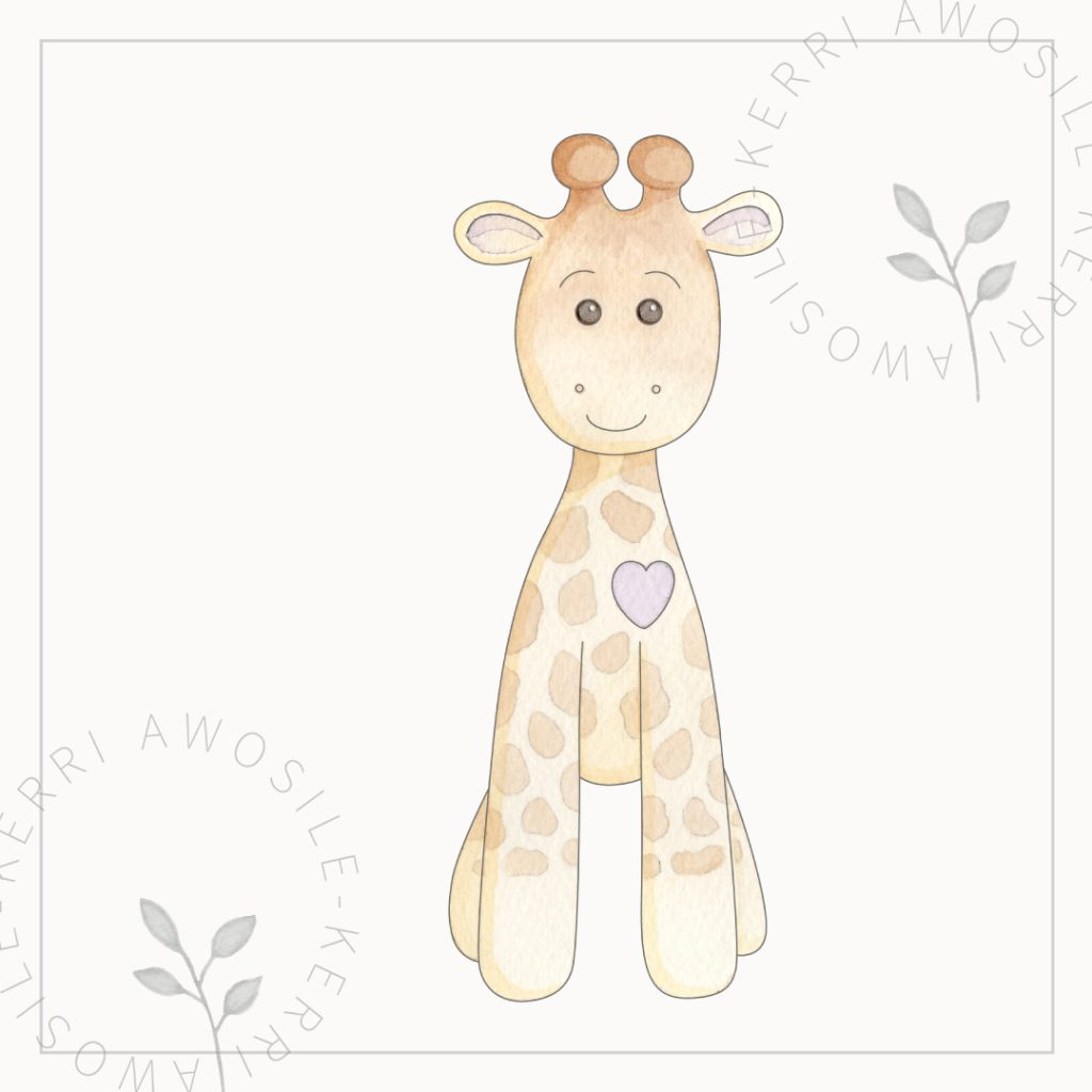 bespoke brand illustration for children's character giraffe, for products, prints, and story books by Kerri Awosile freelance artist, illustrator, writer, designer in the UK