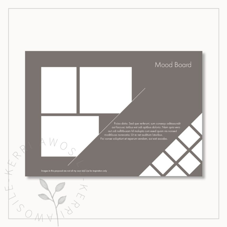 Mood board client proposal design template moodboard page with layout frame boxes white on grey by Kerri Awosile, freelance artist, writer, designer UK