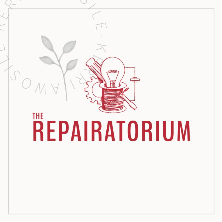 bespoke branding for the repairatorium with typography and hand drawn digitised icon brand logo graphic with light bulb, cotton real, needle, skrewdriver, cog, and electrical circuit by Kerri Awosile freelance artist, writer, designer in the UK