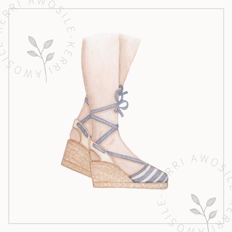 wedge sandals watercolour painting illustration, artwork by Kerri Awosile artist, writer, designer in the UK