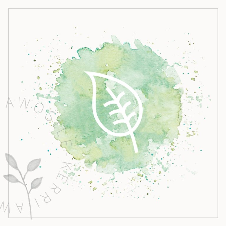 green watercolour splatter and white leaf icon graphic, for brand social media visual branding by Kerri Awosile art, writing, design in the UK