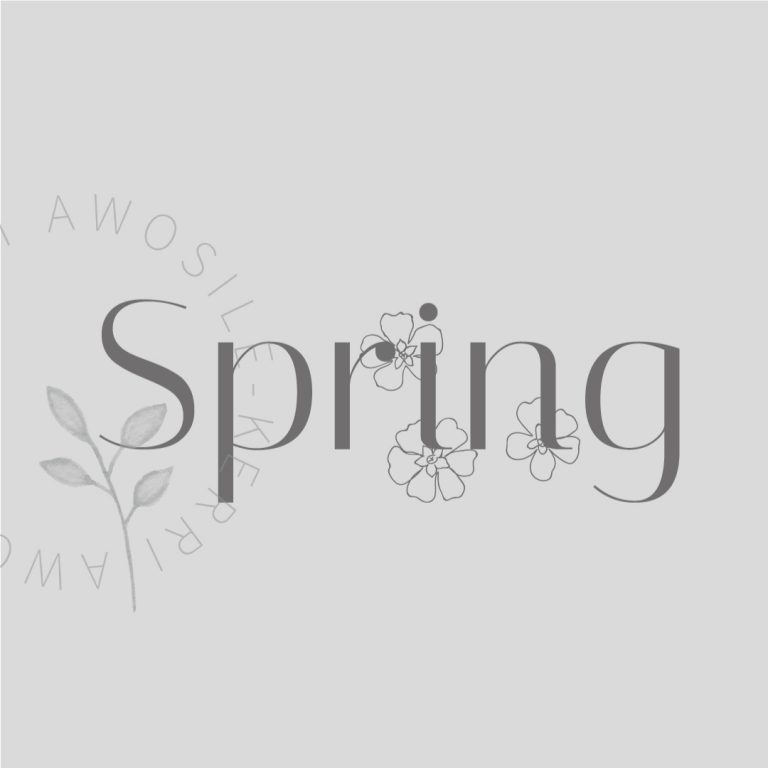 spring grey logo icon graphic design with floral line art by Kerri Awosile artist, writer, designer in the UK