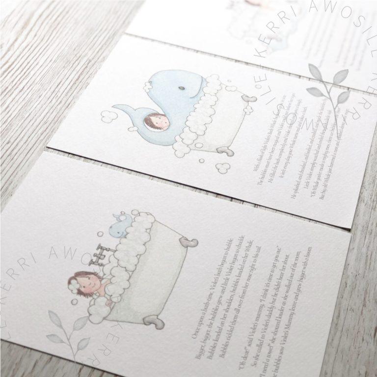 bespoke children's short, illustrated, rhyming story prints by Kerri Awosile artist, writer, designer in the UK