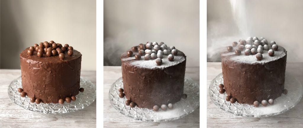 Chocolate & Hazelnut Cake recipe for Creative Project blog by Kerri Awosile UK - dusting with icing sugar process