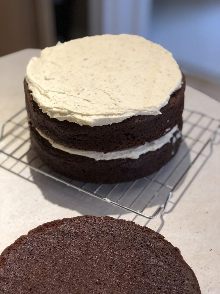 Chocolate & Hazelnut Cake recipe for Creative Project blog by Kerri Awosile, UK - layering cake