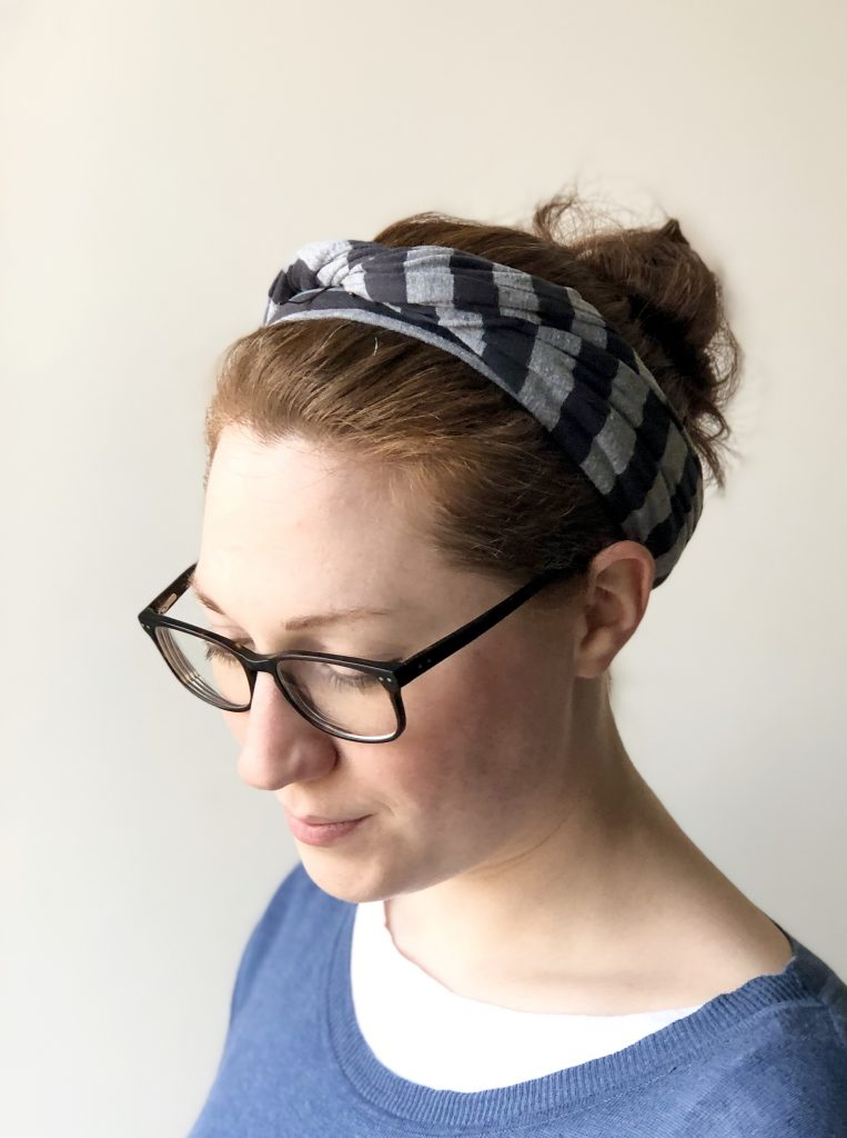 Kerri Awosile wearing hand made hair-tie from old top
