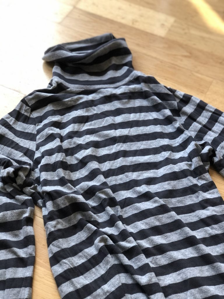 stripy grey turtleneck top for creative project
