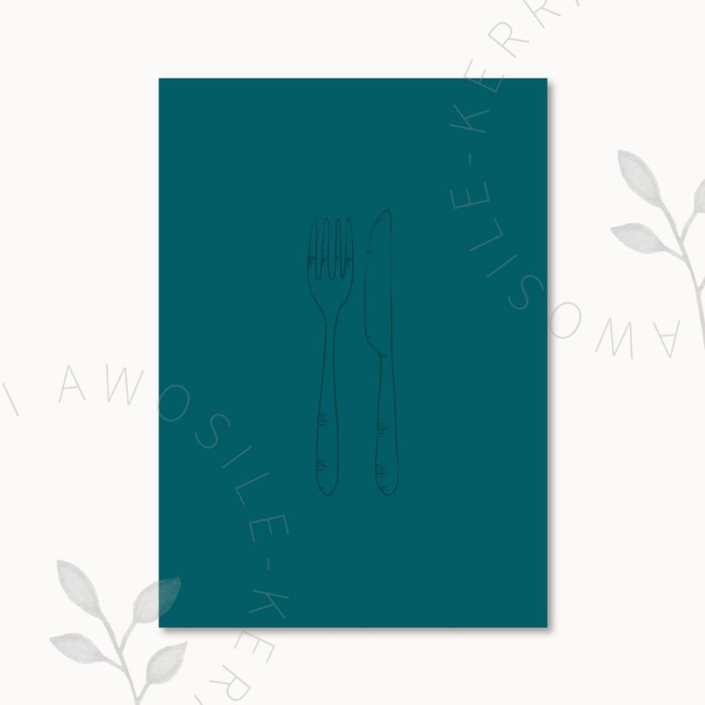 Bespoke knife and fork line art illustration by artist and designer Kerri Awosile UK