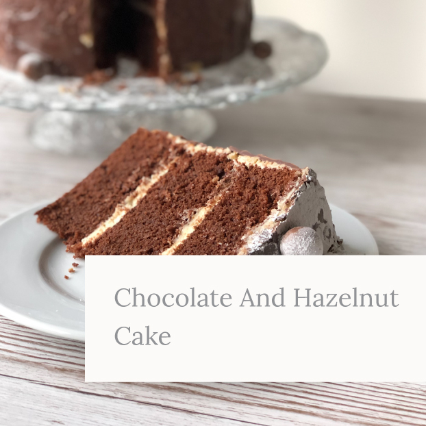 Chocolate and hazelnut cake slice with chocolate covered honeycomb balls on top by Kerri Awosile