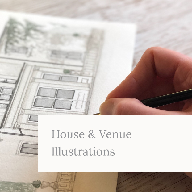 House and Venue illustration being painted by Kerri Awosile