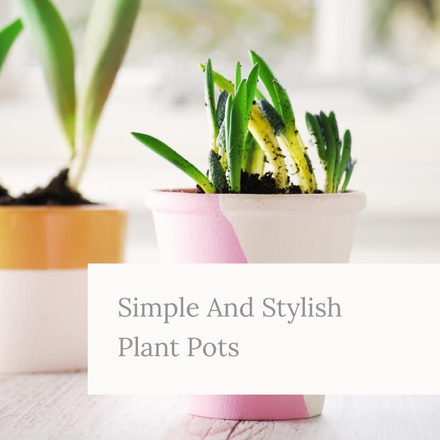 Simple and stylish plant pots painted in white, pink and orange by Kerri Awosile