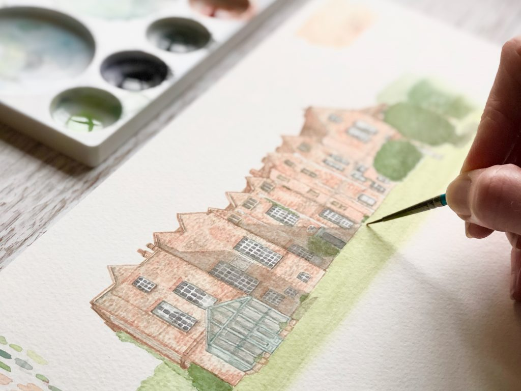 example of watercolour wedding venue house illustrations by UK artist, Kerri Awosile