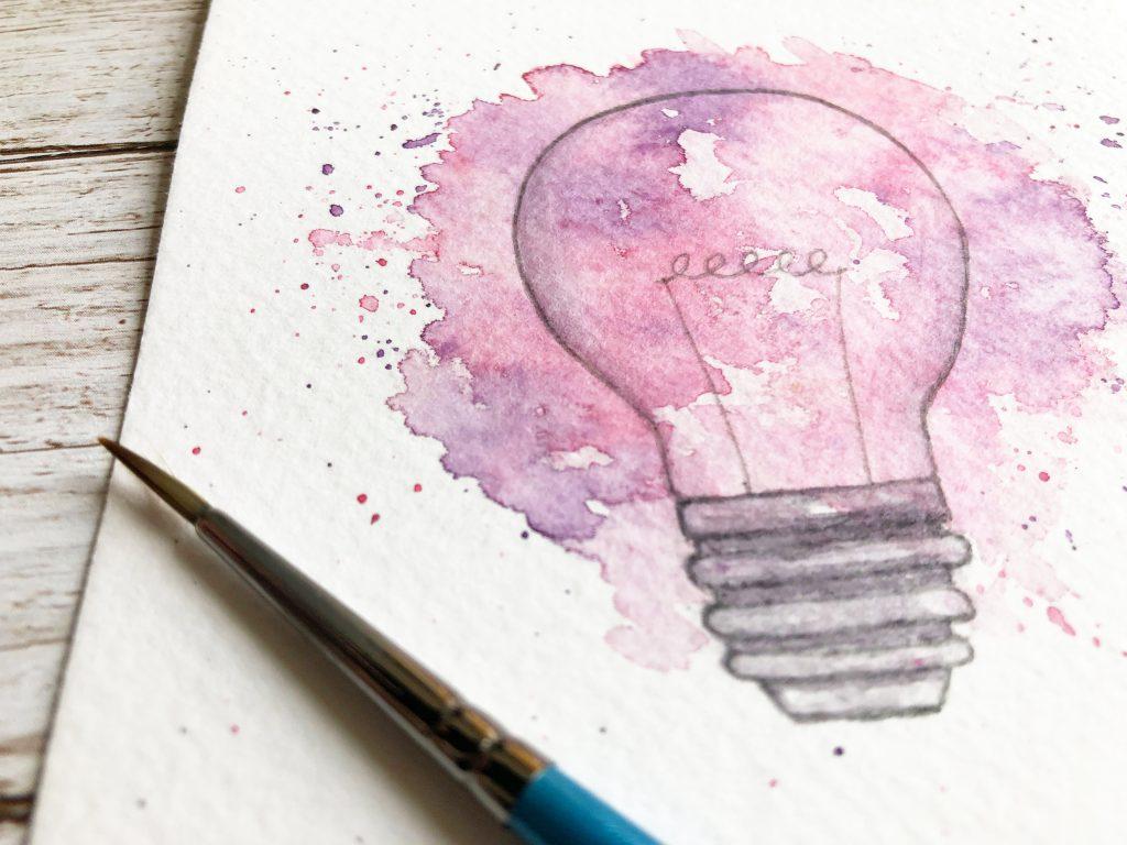 bespoke Light Bulb watercolour painting for greeting card by UK artist Kerri Awosile