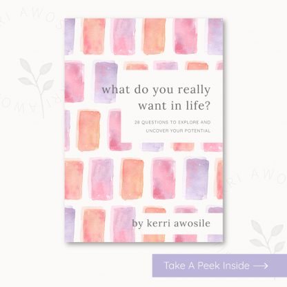 What do you really want in life? Downloadable PDF book by Kerri Awosile watercolour cover artwork