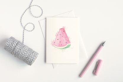 watercolour watermelon card with string and pink pen